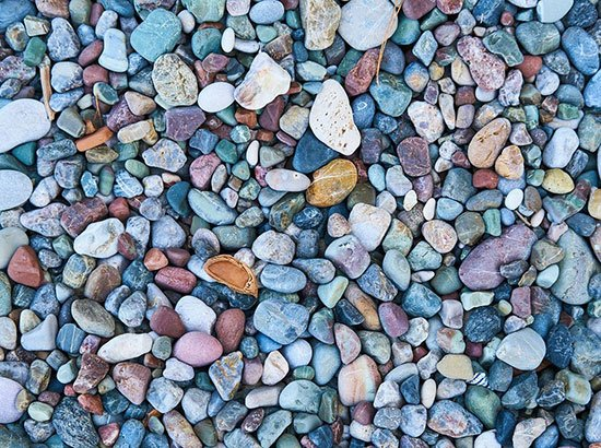 Agrégats de graviers en marbre ou volcanique